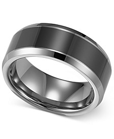 Men's Tungsten Carbide and Ceramic Ring, 8mm Wedding Band
