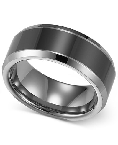 triton mens tungsten carbide and ceramic ring 8mm wedding band - Ceramic Wedding Rings