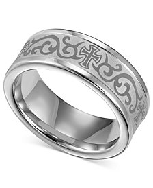 Triton Men's White Tungsten Ring, Laser-Detailed Scroll and Cross Wedding Band