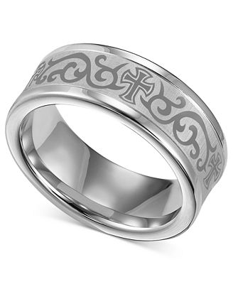 Triton Mens White Tungsten Ring Laser Detailed Scroll and Cross
