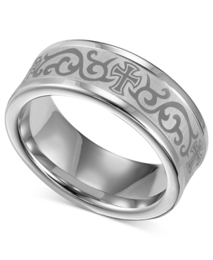 Triton Men's White Tungsten Ring, Laser-Detailed Scroll