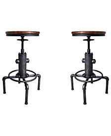 Tampa Industrial Backless Adjustable Barstool in Brushed and Rustic Ash Wood Seat - Set of 2