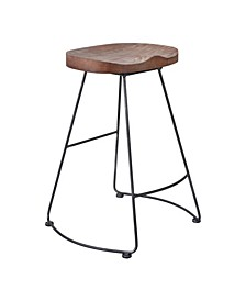 Sofia Industrial Backless Metal Barstool in Brushed with Rustic Wood Seat