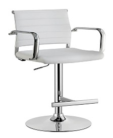 Contemporary Leatherette Padded Metal Bar Stool with Arms