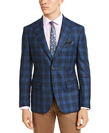 Men's Slim-Fit Blue/Cream Plaid Sport Coat