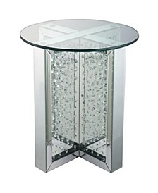 Metal End Table with Glass Top and Crystal Accent Base