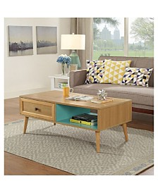 Benzara Wooden Coffee Table with Storage Compartments