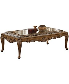 Traditional Wooden Coffee Table with Mirrored Top
