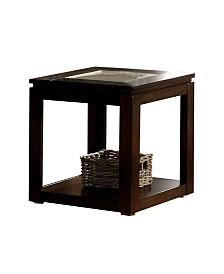 Benzara Wooden End Table with Bottom Shelf