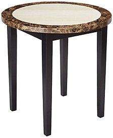 Benzara Wooden Round Counter Height Table with Marble Top