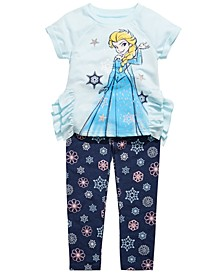 Little Girls 2-Pc. Elsa Top & Printed Leggings Set