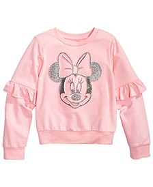 Little Girls Minnie Mouse Ruffled Sweatshirt