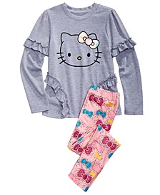Little Girls 2-Pc. Ruffled Top & Printed Leggings Set