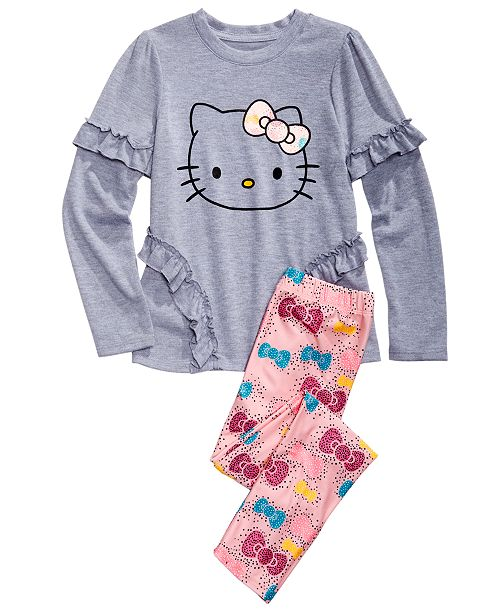Hello Kitty Little Girls 2-Pc. Ruffled Top & Printed Leggings Set