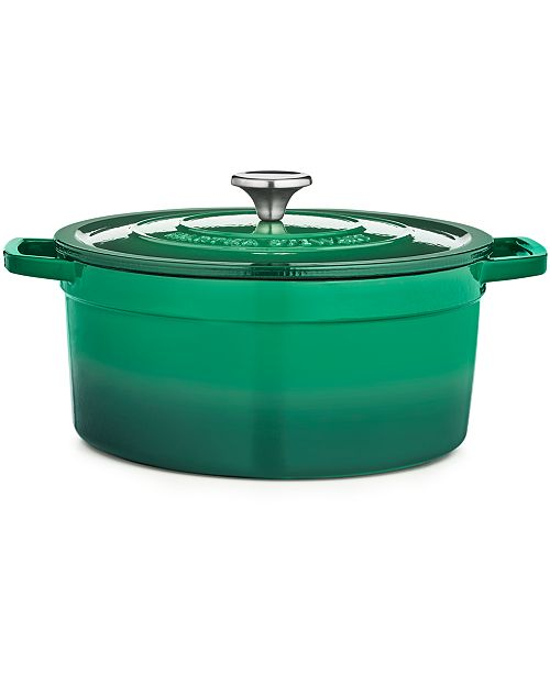 Martha Stewart Collection Green Enameled Cast Iron Round 6-Qt. Dutch Oven, Created for Macy's
