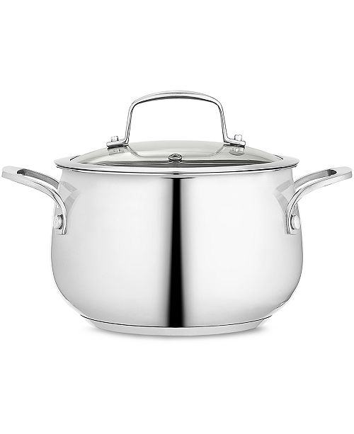 Belgique Polished Stainless Steel 3-Qt. Covered Soup Pot, Created for Macy's