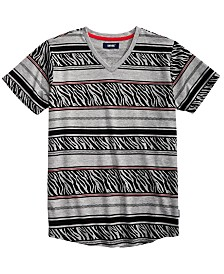 Univibe Big Boys Harding Geo Stripe V-Neck T-Shirt