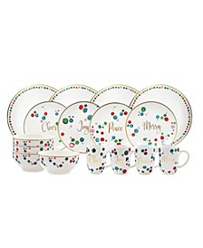 Christmas Confetti 16 Piece Dinner Set