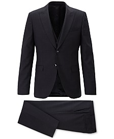 BOSS Men's Extra-Slim-Fit 3-Pc. Plain-Check Virgin Wool Suit
