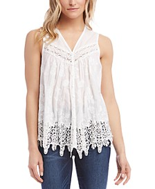 Cotton Embroidered Lace Top