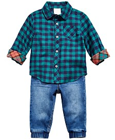 First Impressions Boys Cotton Plaid Shirt & Denim Jogger Pants, Created for Macy's