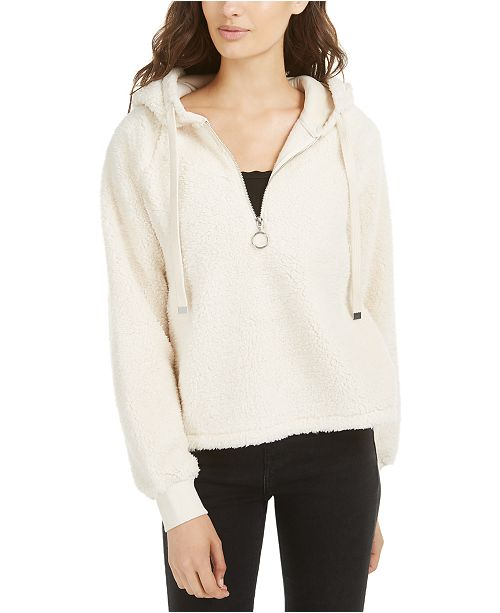 American Rag Juniors' Faux-Sherpa Pullover Hoodie, Created for Macy's