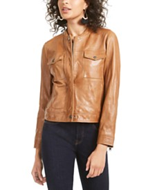 Lucky Brand Zip-Front Leather Jacket