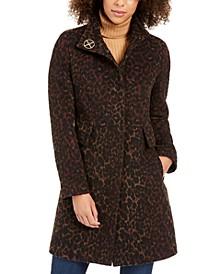 Petite Stand-Collar Leopard-Print Coat