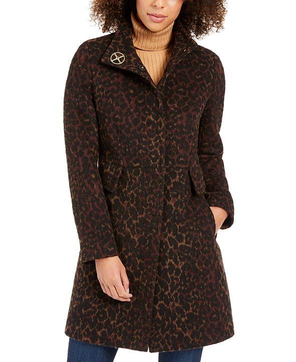 Via Spiga Petite Stand-Collar Leopard-Print Coat