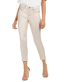 Metallic Coated High Rise Ankle Skinny Jeans