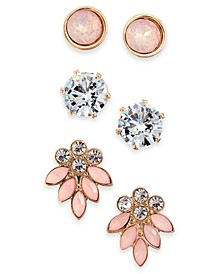 INC Gold-Tone 3-Pc. Set Stone & Crystal Stud Earrings, Created For Macy's