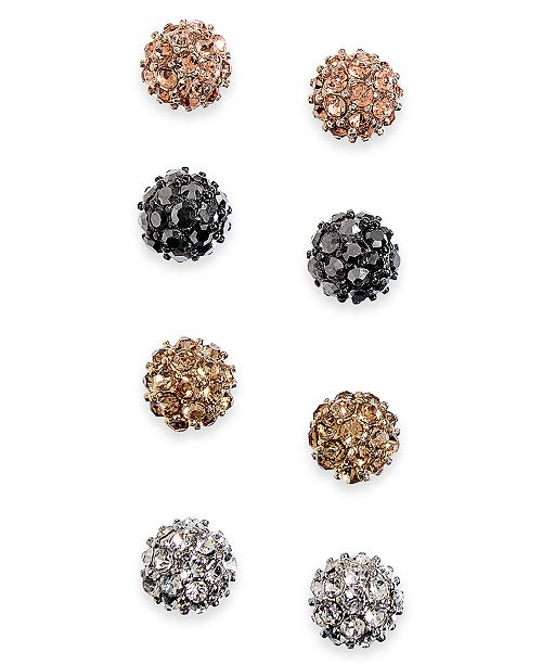 INC International Concepts INC Multi-Tone 4-Pc. Set Pavé Fireball Stud Earrings, Created For Macy's