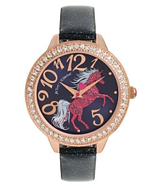 Betsey Johnson Unicorn Motif Dial & Blue Glitter Strap Watch 40mm