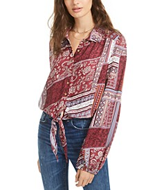 Juniors' Printed Tie-Front Top, Created for Macy's