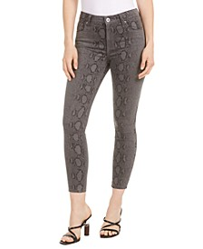 Ellie Snake-Print Skinny Ankle Jeans