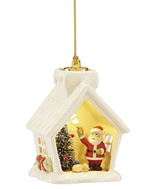 Lit House and Santa Scene Ornament