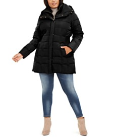 Cole Haan Plus Size Hooded Down Puffer Coat
