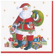 Caspari Santa Claus Lane Paper Cocktail Napkin