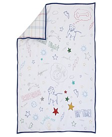 Doodle Dog Embroidered Crib Quilt