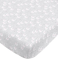 Swan Print Fitted Crib Sheet