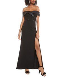B Darlin Juniors' Off-The-Shoulder Tuxedo Dress, Created for Macy's