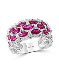EFFY® Certified Ruby (1-1/3 ct. t.w.) & Diamond (1/3 ct. t.w.) Ring in 14k White Gold