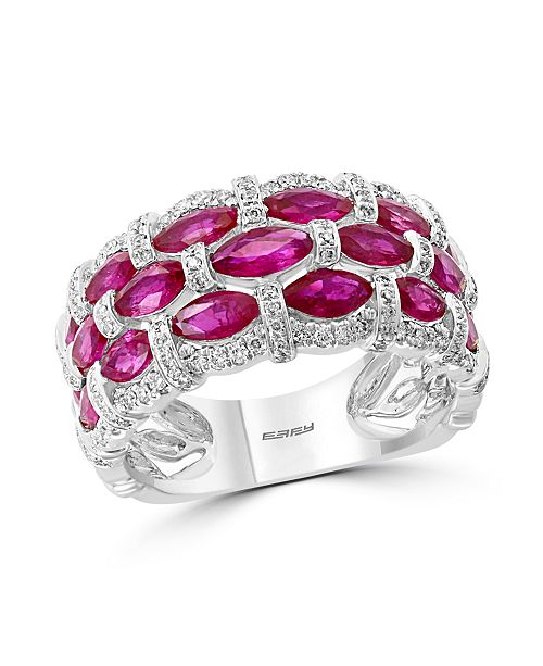 EFFY Collection EFFY® Certified Ruby (1-1/3 ct. t.w.) & Diamond (1/3 ct. t.w.) Ring in 14k White Gold