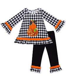 Rare Editions Toddler Girls 2-Pc. Pumpkin-Appliqué Top & Leggings Set