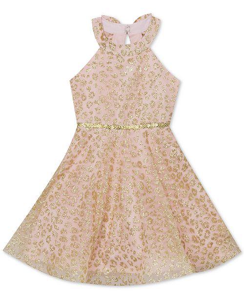 Rare Editions Big Girls Plus Size Glitter Animal-Print Mesh Dress