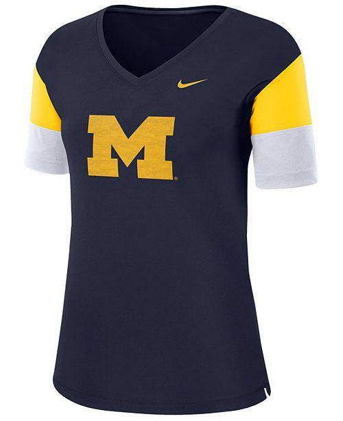 Nike Women's Michigan Wolverines Breathe V-Neck T-Shirt