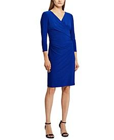 Petite 3/4-Sleeve Ruched Jersey Dress