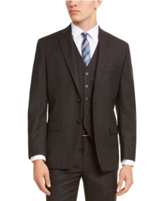 Men's Classic-Fit Airsoft Stretch Brown/Blue Birdseye Windowpane Suit Jacket