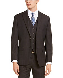 Michael Kors Men's Classic-Fit Airsoft Stretch Brown/Blue Birdseye Windowpane Suit Jacket