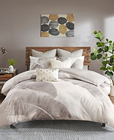INK+IVY Charlotte Full/Queen 3 Piece Cotton Twill Leaf Print Duvet Cover Mini Set